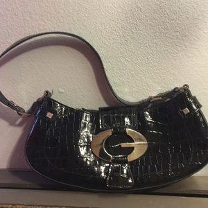 ❤️ Guess Black Patent Leather Baguette Bag